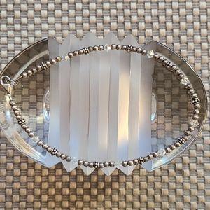 Vintage ankle bracelet, silver beads crystal beads